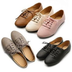 New Womens Shoes Oxfords Ballet Flats Loafers Lace Ups Low Heels Multi Colored | eBay