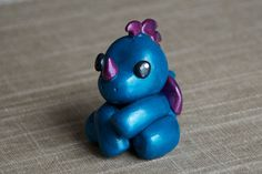 Handmade Polymer Clay Animal: Metallic Teal & Purple Dragon / OOAK