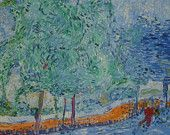 ORIGINAL WALK in SPRING, forest trees landscape/pointellistc Fine Art. See sieweartshop.etsy.com