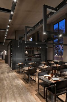 Umo Japanese Restaurant by Estudi Josep Cortina as part of Hotel Catalonia in Barcelona, Spain. Cafe Restaurant, Restaurant Oriental, Luxury Restaurant, Restaurant Lighting, Restaurant Concept, Black Restaurant, Design Commercial, Commercial Lighting, Design Café