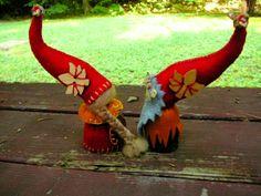 Autumn Gnome Couple Waldorf Peg Dolls  Small by BRIDGITSBELL, $23.00