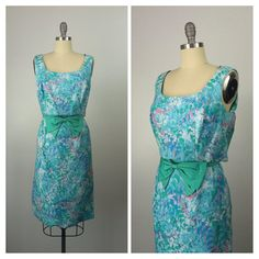 60s Blue Floral Party Dress / 1960s Vintage by CheshireVintageShop