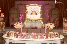 Fabulous royal baby shower party! See more party planning ideas at CatchMyParty.com!