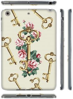 "Amazon.com: White, Pink and Gold {Roses and Vintage Keys} Soft & Smooth Silicone Cute 3D Fitted Bumper Back Cover Gel Case for iPad Mini 1, 2 & 3 by Apple ""Durable & Slim Flexible Fashion Cover w/ Amazing Design"": Computers & Accessories"