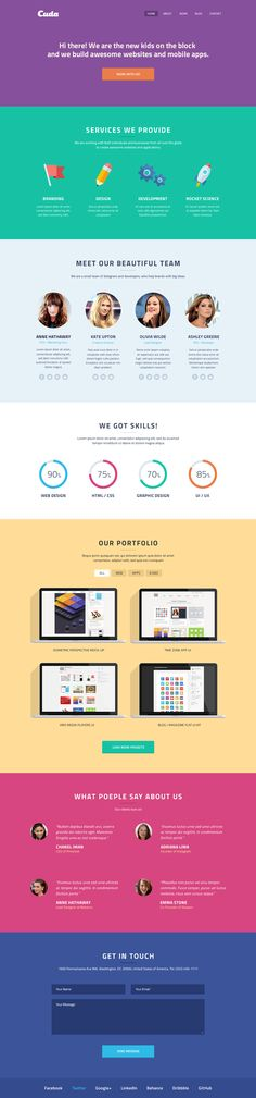 Cuda is a single page creative PSD template with modern flat design. This template is great for anyone looking for...