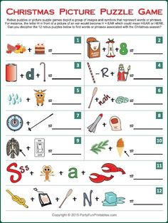 Can you guess the popular Christmas songs from the image hints in this Christmas song picture game? Try it yourself and then play with friends at holiday parties and gatherings. More
