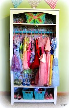 Great idea for ALL of our dress up clothes!! Need to teach girls how to HANG clothes up when they are done :-)