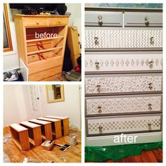 Patterned stencils painted on dresser. Gray and white. New knobs put in. Two layers of polyacrylic on top of dresser.