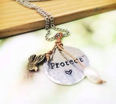 Protect Heart Bird Pearl Custom Hand Stamped Necklace by ThreeBoysWish  #protect #heart #protectmyheart #bird #pearl #protectnature