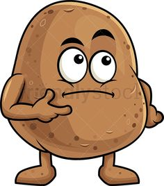 Potato Mascot Thinking: Royalty-free stock vector illustration of a potato cartoon character lost in thought and trying to make a decision. Vegetable Cartoon, Character Art, Character Design, Funny Fruit, Pillow Crafts, We Go Together, Cute Good Morning, Bee Art, Cartoon Images