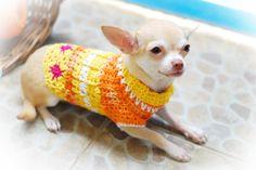 Myknitt Dog Clothes XXS crochet dog Apparel orange flower spring  via Etsy.