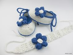 Crochet Baby Shoes, Crochet Baby Booties, Crochet Baby Girl Shoes, Blue  Baby Girl Shoes, Baby Girl Shoes, Summer Baby Flower Shoes,headband by BUBUCrochet on Etsy