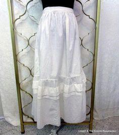 """Vintage Edwardian Era Petticoat Slip Under Skirt Eyelet Large 36"""" waist"""