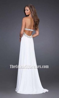 Elegant Beaded White Chiffon Prom Dress Wedding Gown  TCD0201
