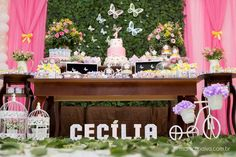 Festa do Jardim Encantado | 1 aninho da Cecília Butterfly Birthday Party, Bird Party, Garden Birthday, 1st Birthday Girls, Birthday Parties, Baby Shower, Girl Shower, Baptism Party, Birthday Decorations