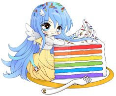 Rainbow Cake Luna - Chibi Commission by YamPuff.deviantart.com on @deviantART
