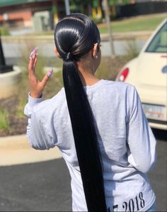 Hair Ponytail Styles, Slick Ponytail, Weave Ponytail Hairstyles, Baddie Hairstyles, My Hairstyle, Curly Hair Styles, Natural Hair Styles, Formal Hairstyles, Ponytail With Weave