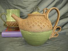 Ceramic Teapot in Wintergreen and Speckled Brown. By Sally Anne Stahl at www.clayshapergallery.com