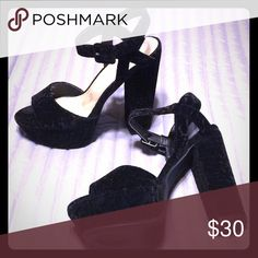Leonie Velvet Platform Heel 5 inch heel, extremely comfortable. Worn for 5 hours and the stored away. Will be delivered in original box! Shoes Platforms