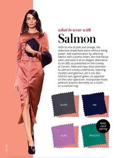 What to wear with SALMON - color crash course Colour Combinations Fashion, Color Combinations For Clothes, Fashion Colours, Colorful Fashion, Color Combos, Color Mix, Vestidos Color Salmon, Salmon Color, Image Coach