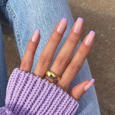 Uv Gel Nail Polish, Uv Gel Nails, Glue On Nails, Pink Tip Nails, Cow Nails, Acrylic Nail Tips, Acrylic Nail Designs, Autumn Nails Acrylic, Purple Acrylic Nails