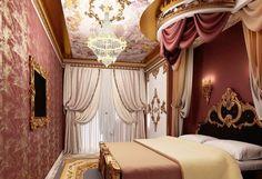 chambre style baroque, murs en marsala et lit à baldaquin à motifs dorés Baroque Bedroom, Deco Baroque, Dream Bedroom, Decoration, Valance Curtains, Chic, Sweet Home, Fancy, Marsala