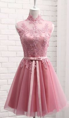 tulle lace applique high neck see-through short prom dresses,homecoming dress from Girlsprom Cute pink tulle lace prom dress, homecoming dress, prom dresses for teens Prom Dresses Under 100, Cute Homecoming Dresses, Formal Dresses For Teens, Prom Dresses 2018, Elegant Prom Dresses, Tulle Prom Dress, Lace Dress, Evening Dresses, Short Dresses
