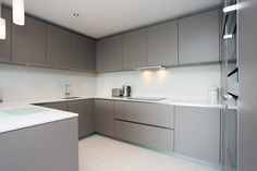 Grey satin lacquer kitchen finish