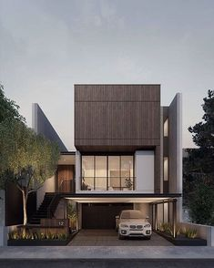 Reposted from . ang house at dawn by Villa Design, Facade Design, Exterior Design, Modern Townhouse, Townhouse Designs, Minimalist House Design, Modern House Design, Contemporary Design, Home Design