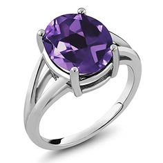4.60 Ct Natural Amethyst Gemstone Birthstone 925 Sterling Silver Women's Ring (Oval 12X10MM, Available in size 5, 6, 7, 8, 9). CARAT TOTAL WEIGHT - 4.60 CT (This item is proudly custom made in the USA). Crafted in High-Quality 925 Sterling Silver that delivers exceptional shine and ultimate protection. MEASUREMENT - Center Stone: 12X10MM, 100% Natural Purple Amethyst Ring (All the sizes displayed are in stock) Crafted in 925 Sterling Silver. This beautiful design jewelry is unique and…