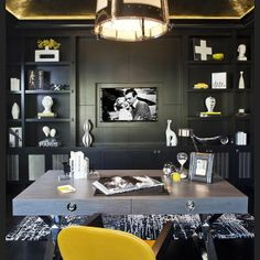 Modern meets classic in this eclectic home office #sfadesign #smithfirestone #interiordesign #design #homeoffice #charcoal #yellow