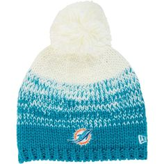 c21b908f70cab New Era Women s Miami Dolphins Polar Dust Knit Hat (368.800 IDR) ❤ liked on  Polyvore featuring accessories