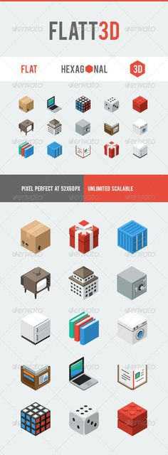 Flatt3d Icon Pack  #GraphicRiver         Flatt3d is simple, flat, hexagonal, isometric 3D icons. Suitable for website, digital and print media. Pixel perfect in 64×64 and unlimited scalable in vector format.  Flatt3d icon pack contains 15 icons:  Box  Laptop  Rubik Cube  Dice  Lego Brick  Old Television  Building  Safe Deposit Box  Wallet  Washing Machine  Books  Container  Book  Gift  Refrigerator  This icon set is including the following file format:  Transparent PNG file, in 64×64…