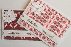 Handmade Christmas Cards - Set of 4 in red, white and gold with flower and beautiful background by ArtDenia on Etsy