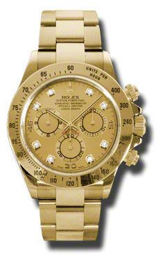 Rolex Oyster Perpetual Cosmograph Daytona Watches. 40mm 18K yellow gold case, tachymeter engraved bezel, screw-down push buttons, champagne dial, 8 diamond hour markers, and Oysterlock bracelet.