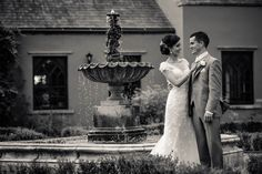 Couple at the fountain at Wedding Barberstown castle Kildare photographer Photography Website, Newlyweds, Simply Beautiful, Photo Sessions, Family Photos, Fountain, Backdrops, Reception, Castle