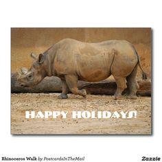 Rhinoceros Walk Postcard