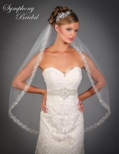 Just stunning!  Beaded Embroidery Fingertip Wedding Veil 6535VL by Symphony Bridal - Affordable Elegance Bridal -
