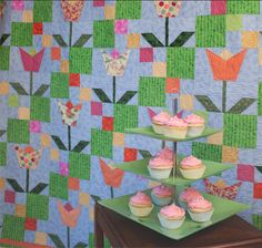 My Sunny Tulips quilt design from my book - 25 Years of Quilts.