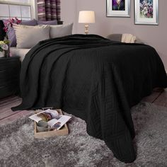 Black Solid Color Bed Quilt (Full/Queen) - Yorkshire Home : Target Queen Bed Quilts, Queen Beds, Twin Quilt, Quilt Bedding, Bedding Sets, Plymouth, Black King Bed, Windsor Homes, King Size Blanket