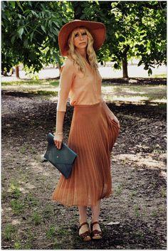 color palette, long pleated skirt, oversized envelope clutch