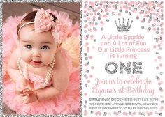 1st Birthday Invitation Printable Girl With Picture Pink Silver Confetti Inv 1 Year