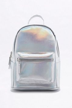 Iridescent Silver Mini Backpack