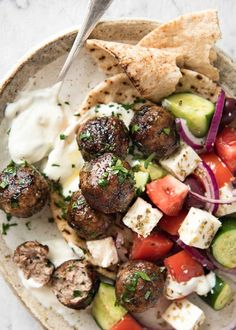 Greek Meatballs (Keftedes) is part of Greek meatballs - Juicy Greek Meatballs beautifully flavoured with red onion, fresh parsley, a touch of mint and hint of dried oregano Serve with pita bread and tzatiki! Meat Recipes, Dinner Recipes, Cooking Recipes, Healthy Recipes, Greek Food Recipes, Authentic Greek Recipes, Meatball Recipes, Recipies, Turkish Food Recipes
