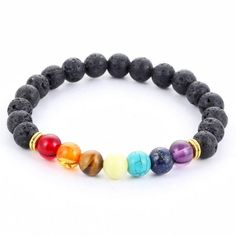 7 Chakra Lava Stone Diffuser Bracelet The beads in a chakra bracelet can be made of many materials, but the colors are very important. Each of the chakras is