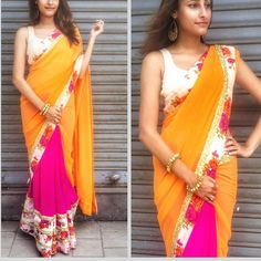 Bright and bold mango georgette saree with floral border comes with white blouse To purchase mail us at houseof2@live.com or whatsapp us on +919833411702 for further detail #sari #saree #georgette #gold #floral #white #bright #bold #ethnic #traditional #traditionalwear #india #indian #indianwear #indowestern #indiancouture #houseof2