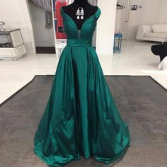 Sexy V Neck Emerald Green Prom Dresses Long 2017 Sweep Train Satin A Line Cap Sleeve Formal Evening Gowns Plus Size