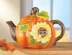 Autumn Harvest Pumpkin Ceramic Kitchen Teapot
