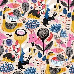 Ilustración infantil de fauna y flora que no utiliza la típica paleta de color que se asocia con estos temas.