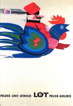 LOT Polish Airlines poster (by Wiktor Górka) Retro Poster, Poster Ads, Poster Prints, Illustrations, Graphic Illustration, Art Design, Book Design, Polish Posters, Art Posters